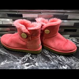 UGG 3352 Mini Bailey Sheepskin Boots Pink Salmon